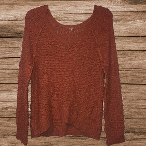 Free People peach chunky knit v-neck sweater sz m